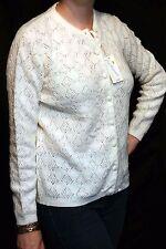 M~L Vtg 60s NOS Cream Open Knit Diamond Print  WINTUK Cardigan Sweater