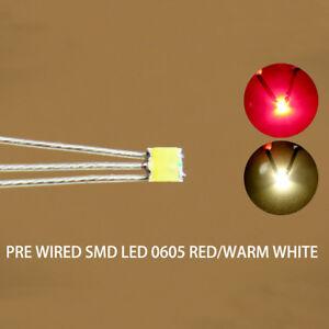 DT0605RWMDE NEU 20 Stk. Bi-Color SMD LED rot/warmweiss 0605 +Microlitze 20cm