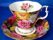 Royal Albert CHRISTINE Black Chintz Chrysanthemums Bone China Cup & Saucer