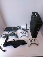 120 GB XBOX 360 Console w/ 2 Controllers, Kinect Bar, Cords & 53 Games - TESTED