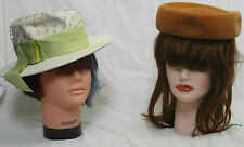 VINTAGE WOMEN'S TAN BROWN WOOL PILLBOX HAT MADE IN ITALY & WHITE STRAW HAT