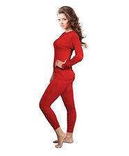 Womens 2pc Microfiber Thermal Underwear Set Long Johns Top & Bottom Red 2XL