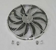 "12"" Street Rod Radiator Electric Chrome Cooling Fan 2500 CFM Reversible S Blade"