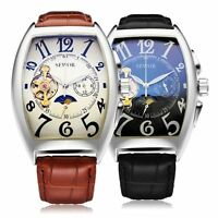 Mechanical Automatic Wrist watch Sewor Fashion Mens Moon Phase Tonneau Analog
