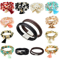 Men Women Multilayers Leather Tassel Bracelet Bangle Wristband Fashion Jewelry