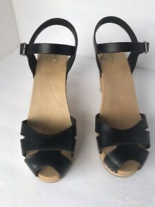 Swedish Hasbeens Kringlan Heel Clogs Black  Leather Sandals Size 39