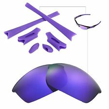 Walleva Polarized Purple Lenses And Rubber Kit For Oakley Flak Jacket Sunglasses