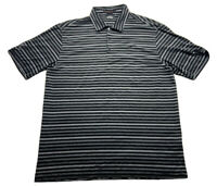 Nike Tiger Woods Collection Dri Fit Striped Golf Polo Old Course St Andrews Sz L