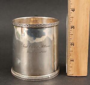1828 Antique 19thC Hallmarked Garrett Philadelphia Coin Silver Cup Mug NR