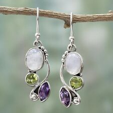 925 Silver Multi-gemstone Rainbow Moonstone&Peridot Dangle Hook Earrings Jewelry