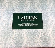 Ralph Lauren  4 pc.Queen Floral Sheet Set Light Blue 100% Cotton 300TC