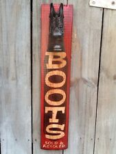 """Vintage Look BOOTS Sign - Hand Painted 25"""" Wooden Western Sign - Cowboy Boots"""