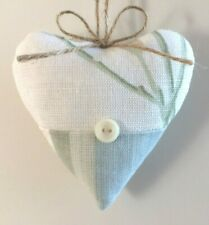 Laura Ashley Fabric Heart Door Hanger Pussy Willow & Awning Stripe Pistachio