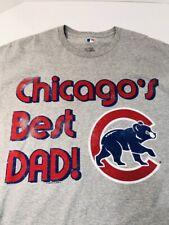CHICAGO CUBS Chicago's Best Dad Cub Logo Gray T-shirt Size XL VGU