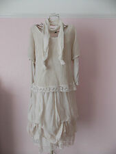 Pronto Moda womens lagenlook ivory lace romantic 20's summer dress rare  size 14