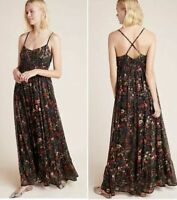 NWT $220 Anthropologie by Payal Jain Massima Pleated Maxi Dress XS black floral