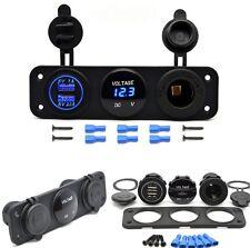 12V Dual Port USB Charger Socket Car Boat Blue LED Voltmeter 3 Hole Panel Outlet