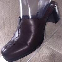 CLARKS Brown Leather Block Heel Mules Slip On Shoes Women's Sz 6