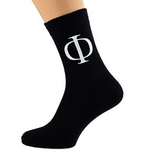 Cool Phi Greek Letter Design Mens Black Socks UK Size 5-12 X6N065