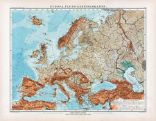 Historical Europe Map from 1905 (E. Debes), Table Atlas, Vintage Print Poster