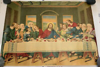 Antique 1911 Lithograph Print Poster The Lords Supper James Lee Chicago Original