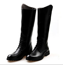 Mens calf Knee High Riding Leather Winter Autumn Zip Motor Military Boots Shoes