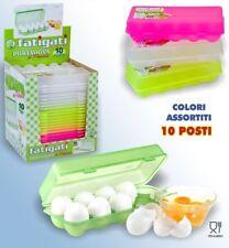 Portauova Porta 10 Uova Posti Contenitore Frigo Plastica Colorato Scatola dfh