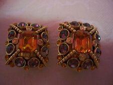 JOAN RIVERS Simulated Topaz & Black Diamond Clip Earrings