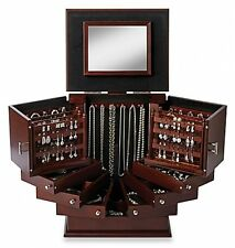 Jewelry Organizer Lori Greiner® Deluxe Wood Walnut Anti-tarnish Easy Access New