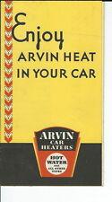 JC-041 - Arvin Car Heaters, Leaflet, Three Fold 1930's Leaflet, Vintage Illust