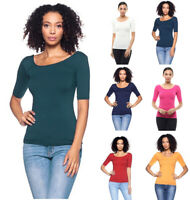S M L Women's Basic Scoop Neck Stretch Fit T-Shirt 1/2 Sleeve Plain Solid Top