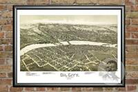 Old Map of Oil City, PA from 1896 - Vintage Pennsylvania Art, Historic Decor