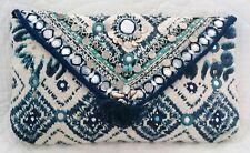 BN Accessorize Beautiful Mermaid Multi Blue & White Shells Mirror Clutch Bag