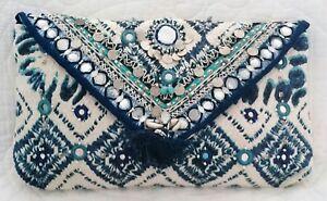 BN Accessorize Beautiful Multi Blue & White Shells Mirror Clutch Bag