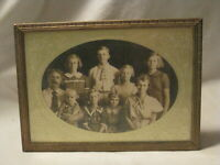 "vintage ornate metal picture photograph frame 7"" x 5"" w/ antique family photo"