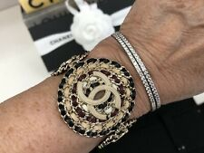 Gorgeous RARE New CHANEL Runway Leather & Gold Chain Bracelet Showstopper Beauty
