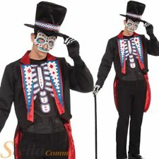 Mens Day Of The Dead Skeleton Costume Halloween Fancy Dress Voodoo Outfit & Hat