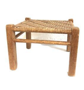 Vintage Wooden Wicker Hand Woven Rattan Top Oak Foot Stool Country Cabin