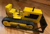 Vintage Tonka Bulldozer 9 inch Original Working 1960's Pressed Steel Yellow