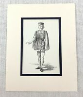 Antico Stampa Shakespearean Costume Duca Frederick Serva Ragazzo Vittoriano 1889