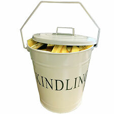 Metal Kindling Coal Scuttle Log Bucket with Lid Fire Ash Hod Holder Fireside