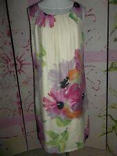 """LOFT""  DESIGNER Sleeveless Dress, Cream/ Floral Print, Ribbon Tie Back Neck"