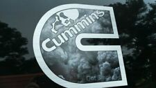 Cummins Turbo Diesel Back Window decal sticker 6pc set - Black Smoke w/ skull