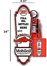 "24"" X 8"" GARGOYLE 25 cent MOBIL OIL LUBSTER front DECAL GAS PUMP, SIGN GASOLINE"