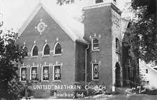 Bourbon Indiana United Brethren Church Real Photo Antique Postcard K13848