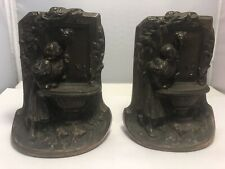 Vintage Bookends Solid Bronze Maiden at the Fountain Well Drinking Lady