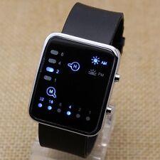 Hot Cool Womens Men Black Binary Blue LED Digital Silicone Band Wrist Watch Gift