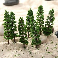 10pcs Green Model Pine Trees Train Railway Park Street Scenery Layout HO N Scale
