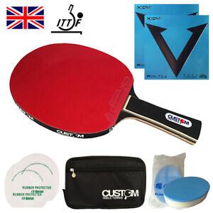 Custom Table Tennis  Professional Carbon + XIOM VEGA INTRO Table Tennis Bat UK