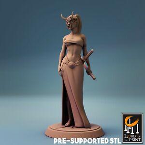 Samurai Female ONI Miniature, D&D, Pathfinder, Warhammer, RPG, TTRPG